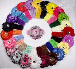 Wholesale 100pcs Crochet Headbands hat cs Gerbera Flowers Baby Hair bows Headbows AAA