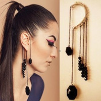 Wholesale Sexy Black Tassels lady fashion EAR CUFF Ear Cuff Earrings Vogue luxurious ear cuff earring NICE