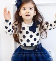 Wholesale Children girl cute bow T shirt culottes piece suit set fashion_house