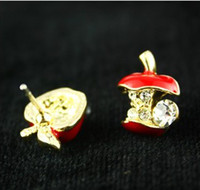 Wholesale Fashion style Lovely cute red color dissymmetric small apple earring