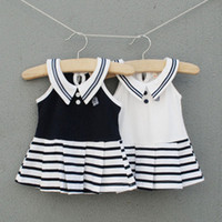 baby girl infant toddler sailor dress navy marin dress cotto...