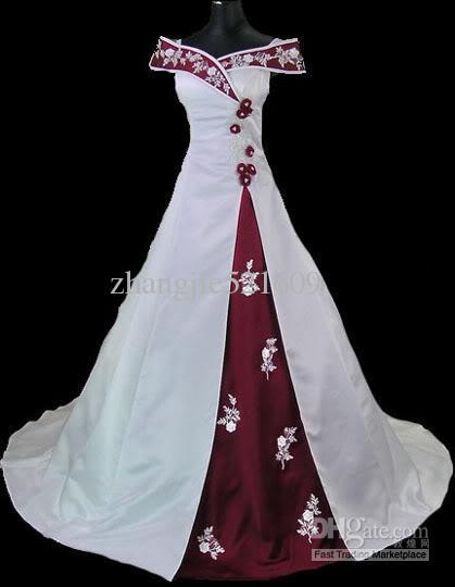Cheap Wedding Dress Discount Train White Red Wedding Dress