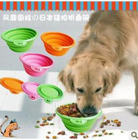 Wholesale Special price folding the BOBO collapsible silicone pet dog and cat bowl used to go out to pet trip