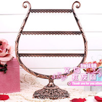 metal jewelry stand - Metal Display Vintage carved bronze Earrings Holder Value Jewellery Organizer Gift Jewelry Stand