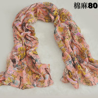 LC Scarves Scarf Lady Cotton Linen 10PCS Lot Flower Style Pu...