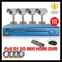 Wholesale 4CH H Real Time D1 Recording HDMI Port DVR System Surveillance Network CCTV TVL Waterproof Ca
