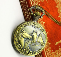 Wholesale Pocket watch Vintage Jewelry Alloy Long Necklace Antique Brass The Horse European Style x