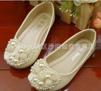 Wholesale Pearl Heart Sharped Princess Shoes Girl Children Flats Elegant Galoshoes Dress Shoe Sizes