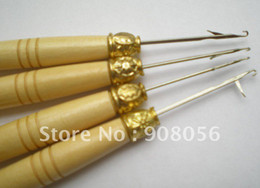 Wholesale Wooden Handle Simple Pulling Needle Micro Ring Needle Hair Extension Tools FREE