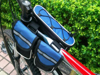 Wholesale 4 in Bicycle front tube bags with free rain cover Black Dropshipping