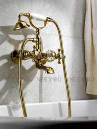Wholesale Classical Dual Handles Tub and shower faucet Titanium gold plate bathroom sink mixer