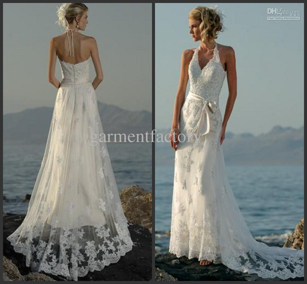 Awesome Halter Beach Wedding Dresses For Bride Halter Beach Wedding Dresses For  Bride ...