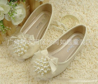 Wholesale Round Pearl Princess Shoes Lace Ribbon Bowknot Girl s Footwear Childrens Flats Sizes