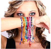 Wholesale 500pcs Cross Nylon Cord Hand Made Knotted Rosary Bracelets Hot Sale