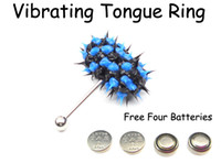 Unisex Stainless Steel Chirstmas Fashion Vibrating Tongue Rings Barbell Piercing Body Jewelry Free Four Batteries VTBJ23