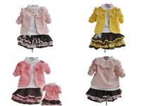 Girl 1year to 5years 90,100,110,120 childrens girls clothing set pink red yellow lace cardigan overcoats outerwear sweater skirts shirts
