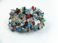 South American american chips - Wide Mix Stone Chips Beads Bracelets Bangle Elastic Fashion Jewelry Pieces per