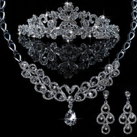 Wholesale Wedding Australia Rhinestone Necklace Crown Earring Wedding Bridal Jewelry Sets Piece