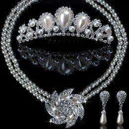 Wholesale Wedding Rhinestone Pearl Necklace Crown Earring Wedding Bridal Jewelry Sets Piece