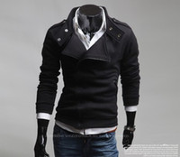 Men big collar hoodie - New Hoodies Sweatshirts Oblique zipper Cardigan Loose Big code Male Collar Thickening black