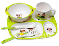 dinner plate - 5 piece baby children product baby feeding solid feeding dishes cup spoon fork bowl dinner plate s