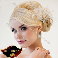 Wholesale XCSUNNY Hand Made Wedding Feather Hair Fascinator Headpieces Fascinators HFF004