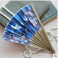 Wholesale Silk female folding beautiful fan with first bamboo craft Dielianhua in Chinese style