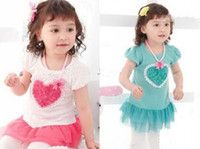 2-6Year Old  baby love yarn - Girl s one piece dress Girls Love Heart net yarn dress baby dress