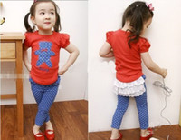 Wholesale Baby girls casual clothing suits set little bear T shirts ruffle lace pants shorts for summer