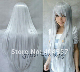 Wholesale 2011 New Fashion Women Long Straight Wig Cosplay wig Party Hair Silver White cm
