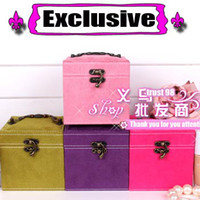 Wholesale Jewelry Storage boxes Vintage cheap Exclusive Large Leather Lady Gift Three Storeys Jewel Case squar