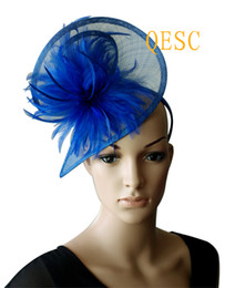 ROYAL BLUE sinamay feather fascinator hat in SPECIAL shape with feathers for wedding,Kentucky Derby