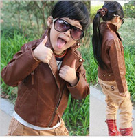 unisex 2-8y 90-130 Kids coat Tong handsome leather machine wagon neutral children 's leather Jacket