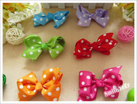 Wholesale 8 Color inch Spot Grosgrain Ribbon Handmade Butterfly Knot Baby Girl s Hair band Accessories