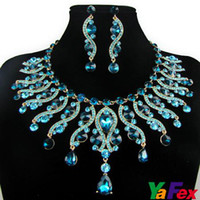 China-Miao Women's Gift 1pcs Delicate Crystal Teardrop Wedding Bridal Bridesmaid Earring Necklace Jewelry Set WA42