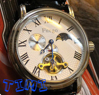 Wholesale Men Elegant See Through Type Mechanical Leather Watch