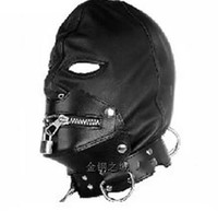 Wholesale 2016 New Zip Lock Mask Hood Leather Lock Collar Halloween Sex Headgear Adult bdsm sex toys bed game set
