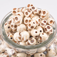 Wholesale 400pcs New Arrival Skull Shape Charms Bead white Turquoise Gemstone Loose Spacer Beads Hot
