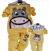 Wholesale Baby suit Autumn sport suits Boy girl hippo leisure suits with cap sets Outerwear pants sets
