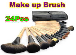 Wholesale 24Pcs Make Up Cosmetic Brush Set Kit Makeup Brushes Pink Wood Handle Goat Hair Leather Case