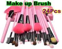 Wholesale 24 Makeup Cosmetic Brush Set with Black Leather Case