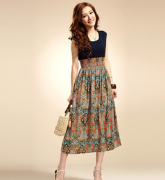 Wholesale Summer new Bohemia chiffon dress retro stitching printing waist vest dress