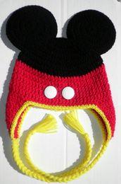 Wholesale Crochet Baby Hat Mouse Mickey Ears Ear Flap Hat Beanie Photo Prop Baby Children Mickey Hat