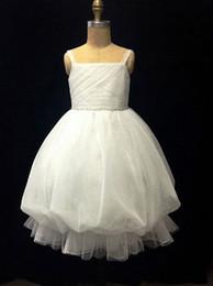 New Spaghetti Straps Pleated Ruffles Beaded Ball Gown Tea Length Tulle Flower Girl Dress 6664