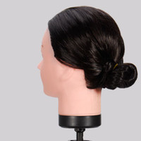 Wholesale 18 inch black normal fiber hair hairdressing head for training pratice hair cutting mannequin head
