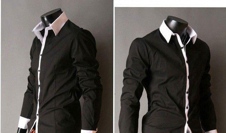 Men's Slim Luxury Stylish Casual Shirts Grey/Light Blue/Pink/Black ...