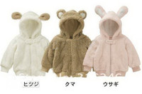 Wholesale Velvet baby coat Hooded Cartoon animal designs romper infant clothes winter clothes
