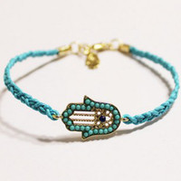 Wholesale assorted color hamsa charm braided bracelet best selling gold plated Xmas gift