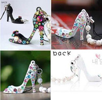Wholesale Charming Cute Colorful Rhinestone High heeled Shoes Beads Cell Phone MP3 Strap