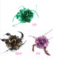 Wholesale feather hair fascinator colorful corsage brooch hair ornaments Barrettes fashion hair jewery